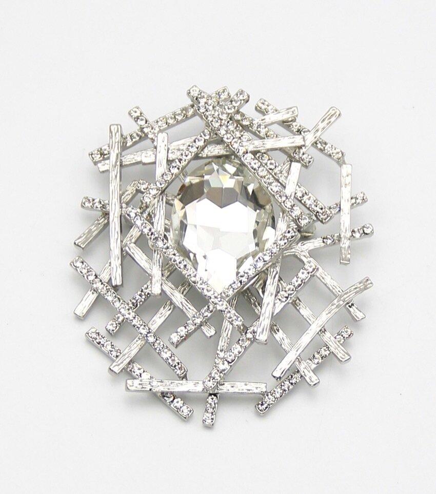 Abstract Crystal Brooch