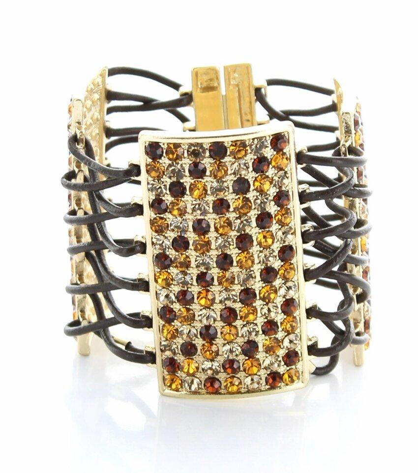 Wide Multi-strand Magnetic Bracelet with Rhinestone Plates