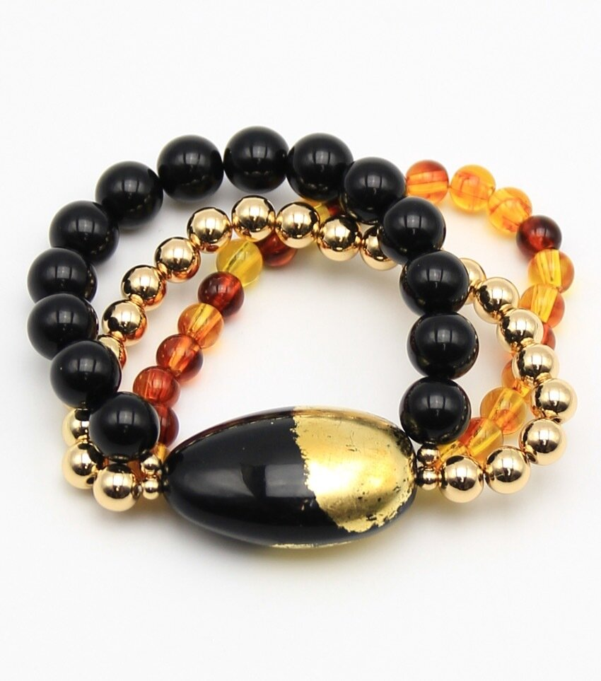 Resin Beaded Honey Dipped Stretch Bracelet