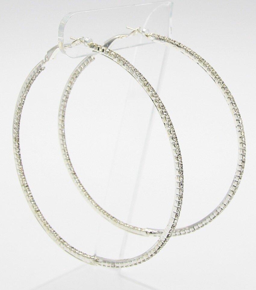 Rhinestone Classic Hoop Earrings