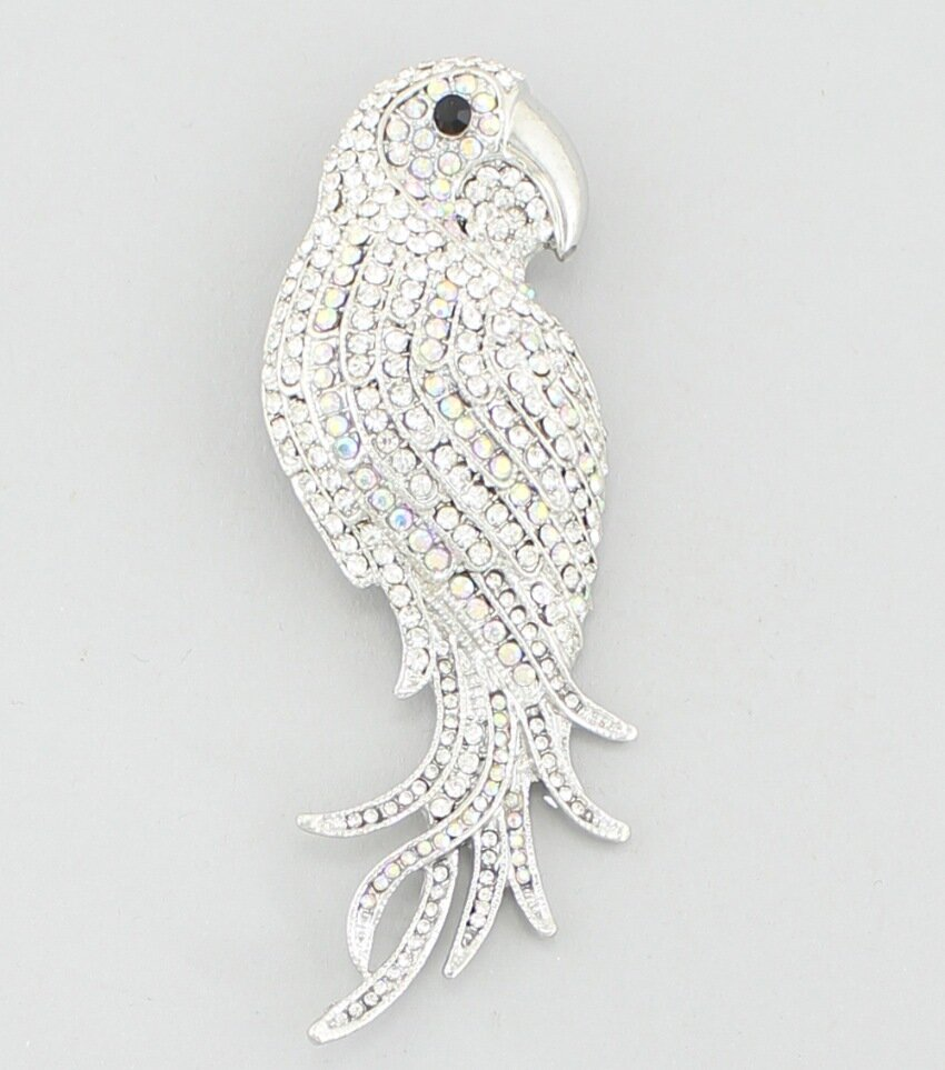 Crystal Parrot Brooch Pin