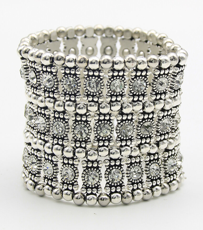 Wide Statement Metal Rhinestone Stretch Bracelet