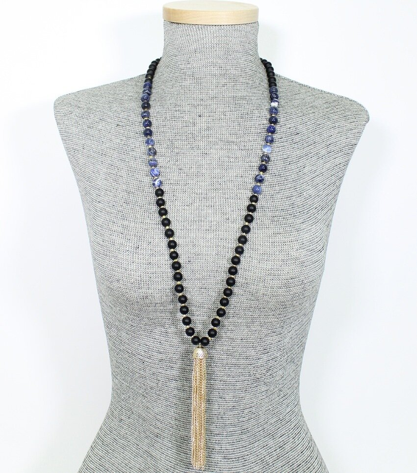 Long Semi-Precious Stone Beaded Tassel Necklace
