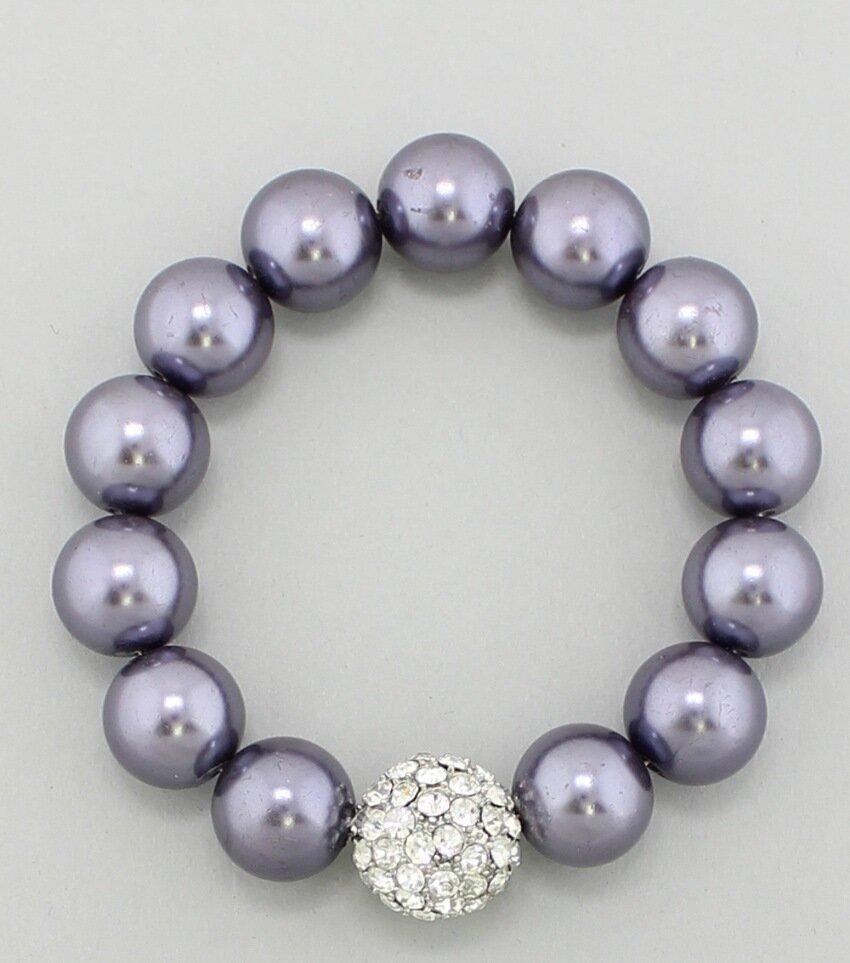 Glass Pearl Rhinestone Stretch Bracelet