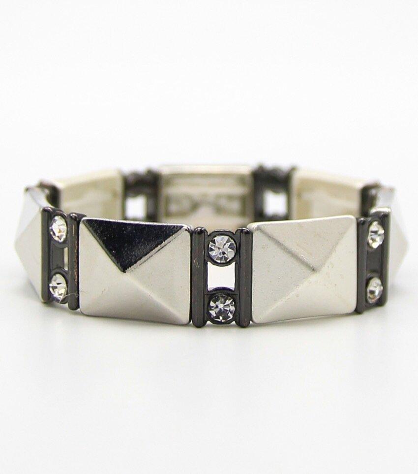 Crystal Pave Piramid Stretch Bracelet