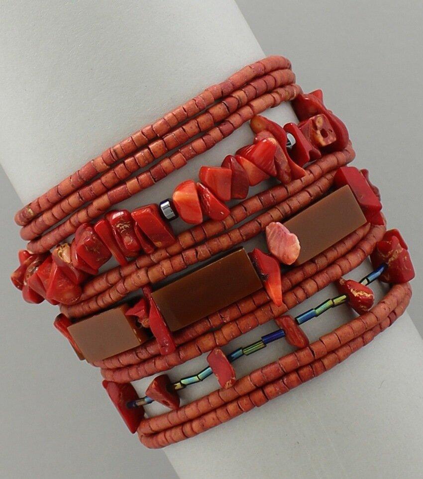 Multi-Strand Wood Beaded Magnetic Bracelets