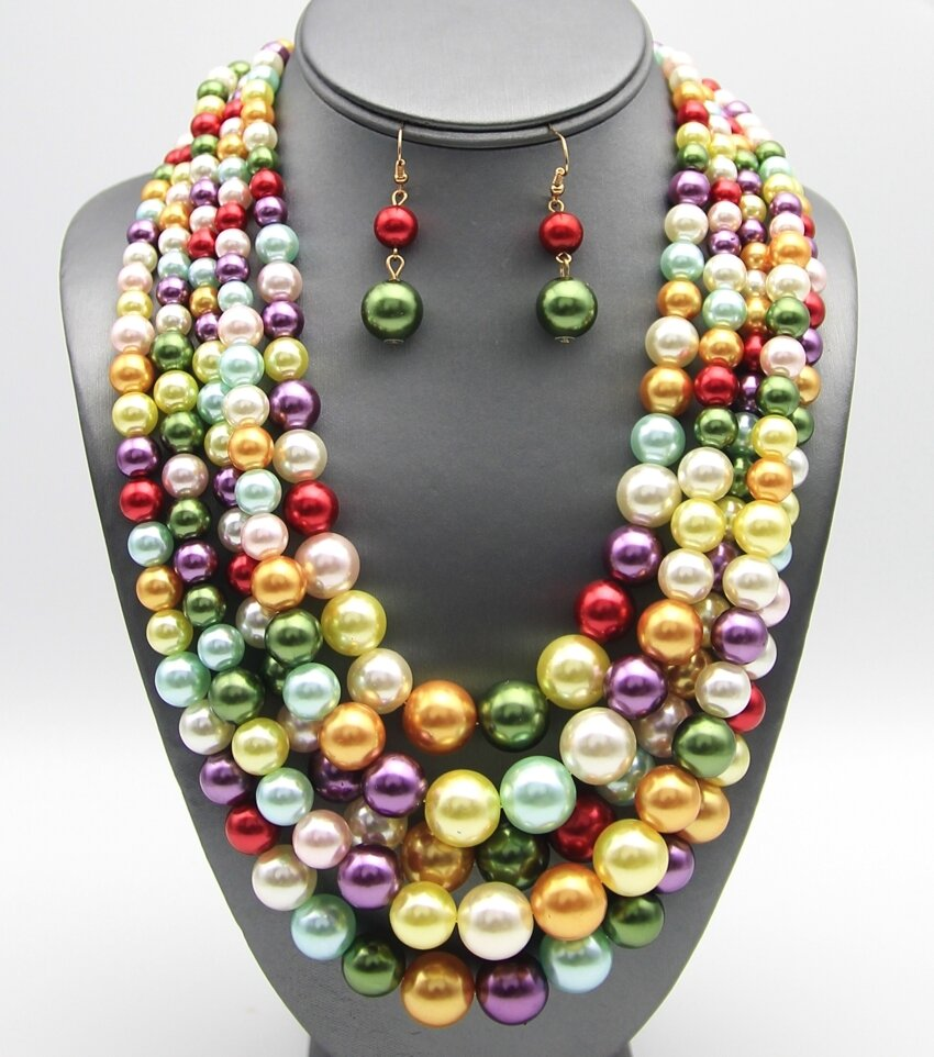 Multi-Strand Layered Pearl Necklace Set