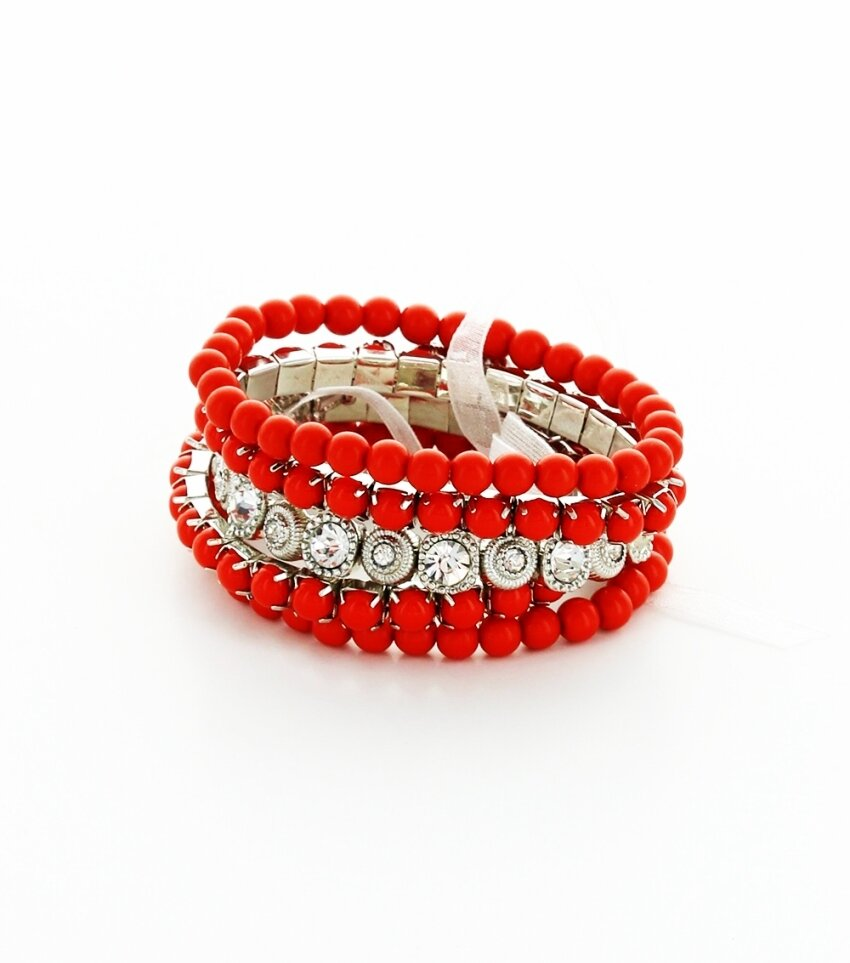 5 Piece Rhinestone and Beaded Stretch Bracelet Set