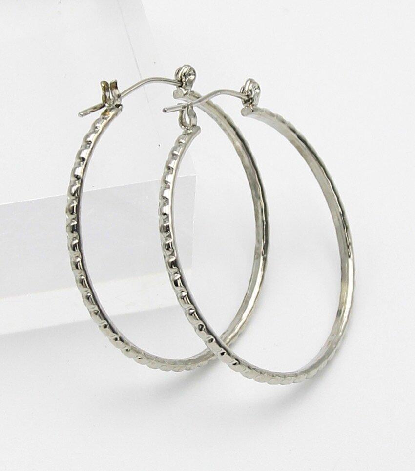 Diamond Cut Metal Hoop Earrings