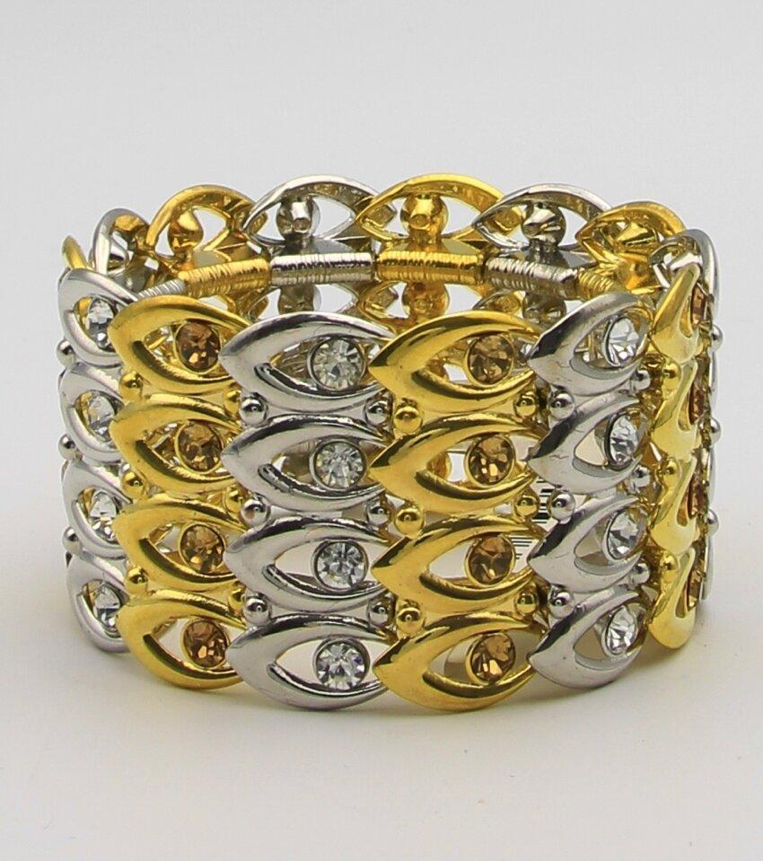 Metal Overlap Crystal Stretch Bracelet