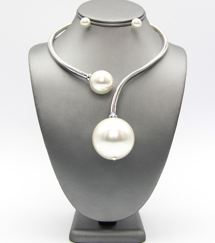 Double Pearl Hinge Choker Necklace Set