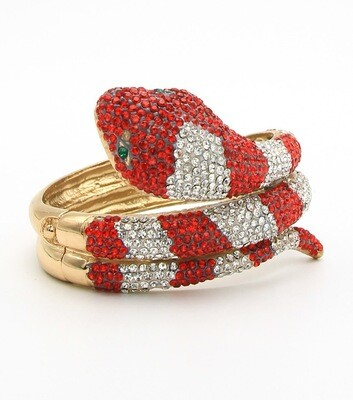 Crystal Pave Snake Hinge Bangle Bracelet