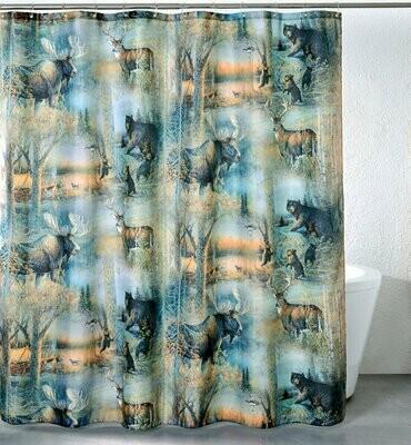 Deer & Moose Shower Curtain