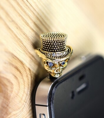 [Made in Korea] Metal Studded Painted Metal Skull Charm Earphone Plug with Rhinestones