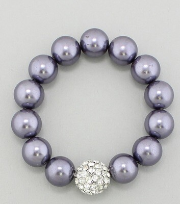 Glass Pearl Rhinestone Stretch Bracelet