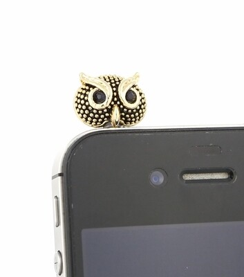 [Made in Korea] Metal Studded Painted Metal Owl Charm Earphone Plug with Rhinestones Eyes
