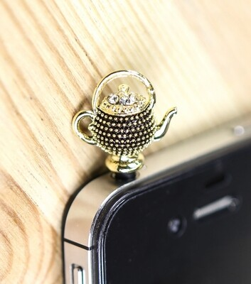 [Made in Korea] Metal Studded Painted Metal Teapot Charm Earphone Plug with Rhinestones