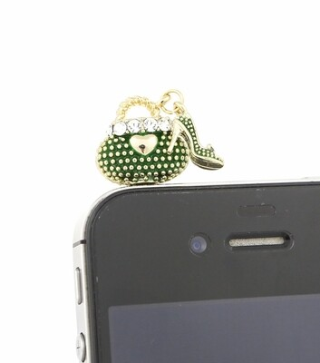 [Made in Korea] Metal Studded Painted Metal Bag Charm Earphone Plug with Heel Charm and Rhinestones