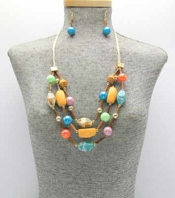 Layered Ceramic and Wood Beaded Necklace Set