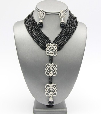 Pearl Beaded Pendant Necklace Set