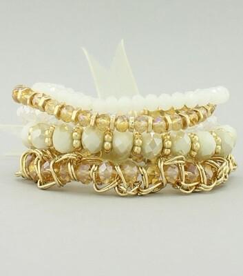 5 Piece Glass Beaded Stretch Bracelet Set