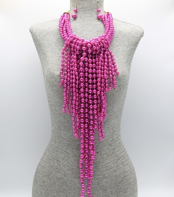 Fringe Statement Pearl Beaded Necklace Set