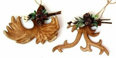 Roman Antler Ornaments Set of 2