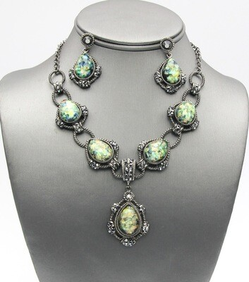 Crystal Pave Pendant Necklace Set
