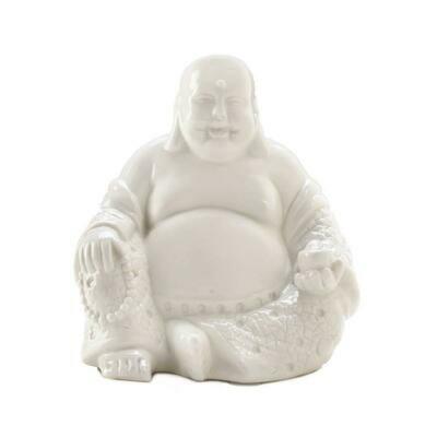 HAPPY WHITE BUDDHA FIGURE