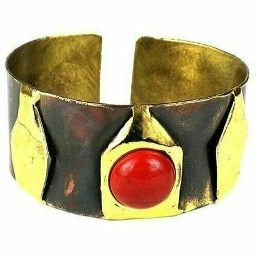 Red Jasper Brass Cuff - Brass Images (C)