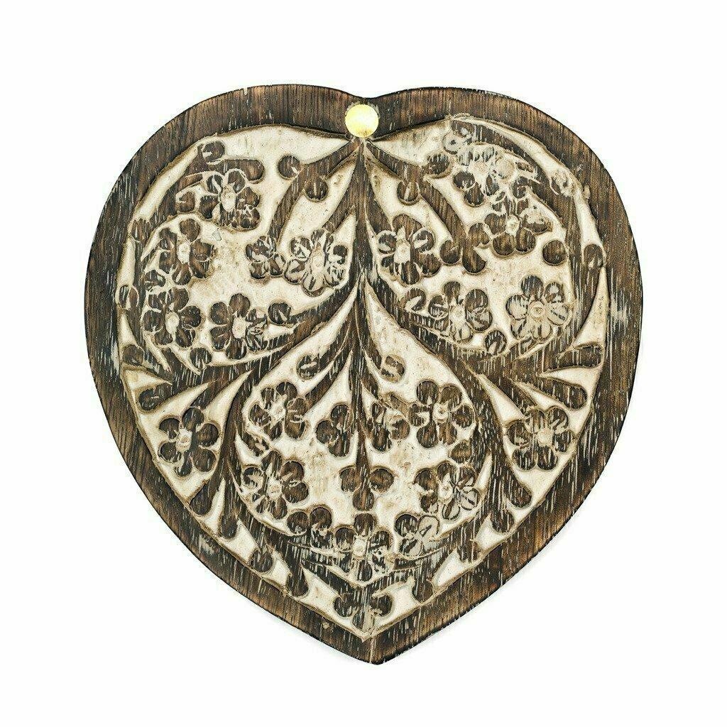 Antique Finish Wood Pivot Box - Heart - Matr Boomie (B)