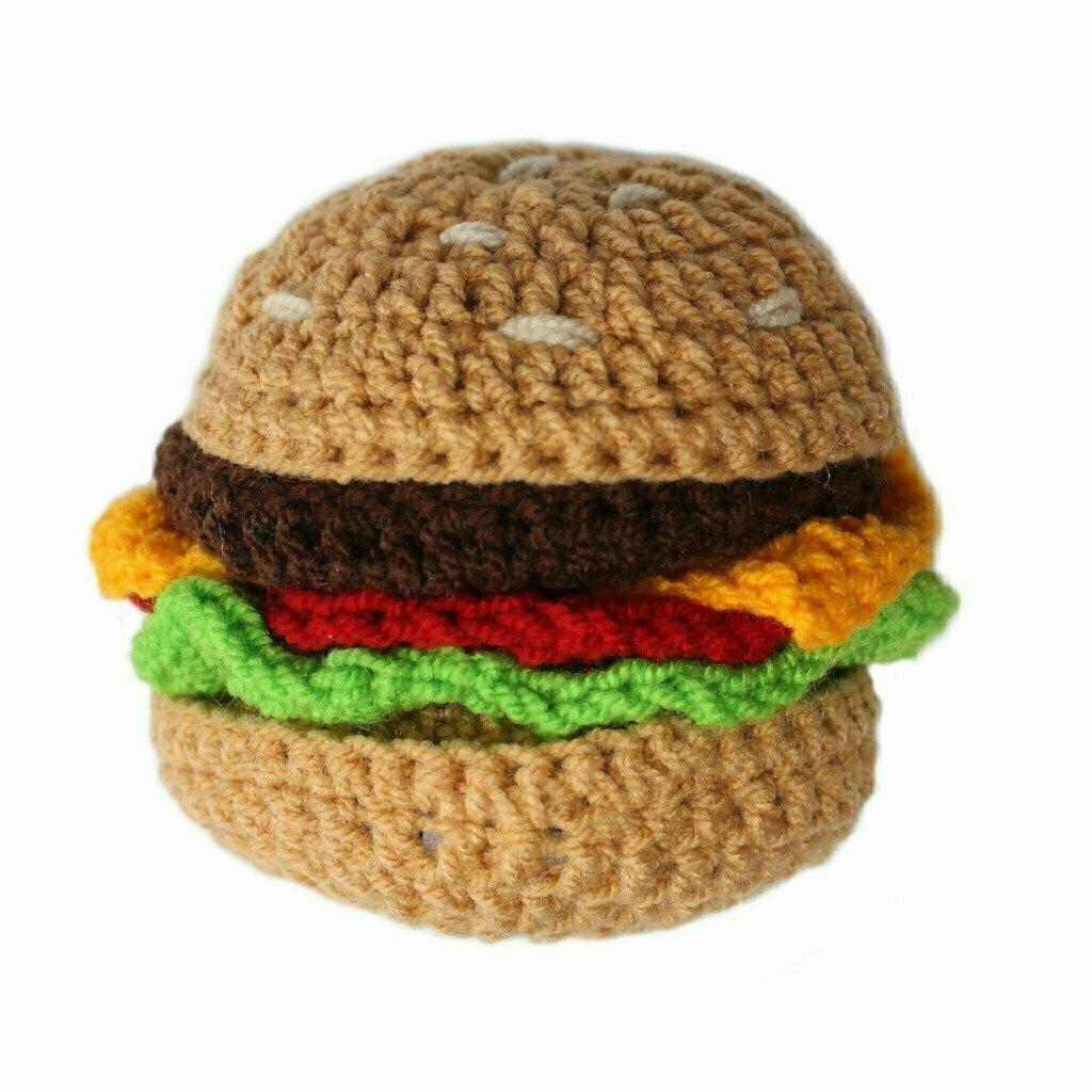 Knit Rattle Hamburger - Silk Road Bazaar