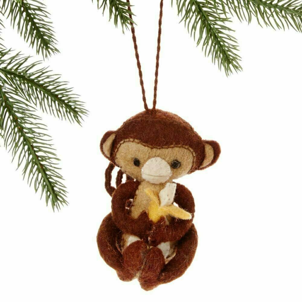 Monkey Felt Holiday Ornament - Silk Road Bazaar (O)