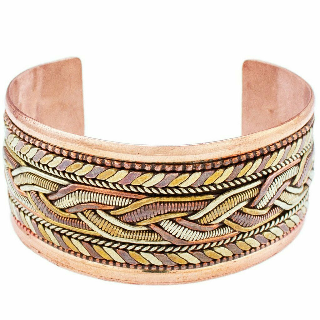 Copper and Brass Bracelet: Healing Cuff - DZI (J)