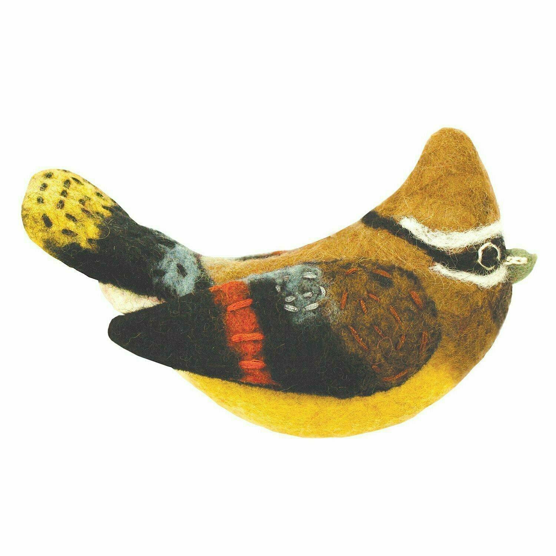 Felt Bird Garden Ornament - Cedar Waxwing - Wild Woolies (G)