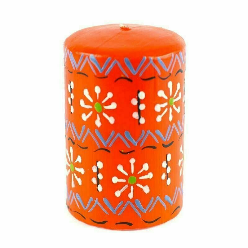 Hand Painted Candles in Orange Masika Design (pillar) - Nobunto