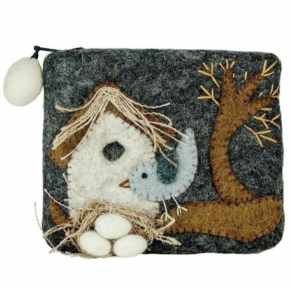Felt Coin Purse - Nesting Bird - Wild Woolies (P)