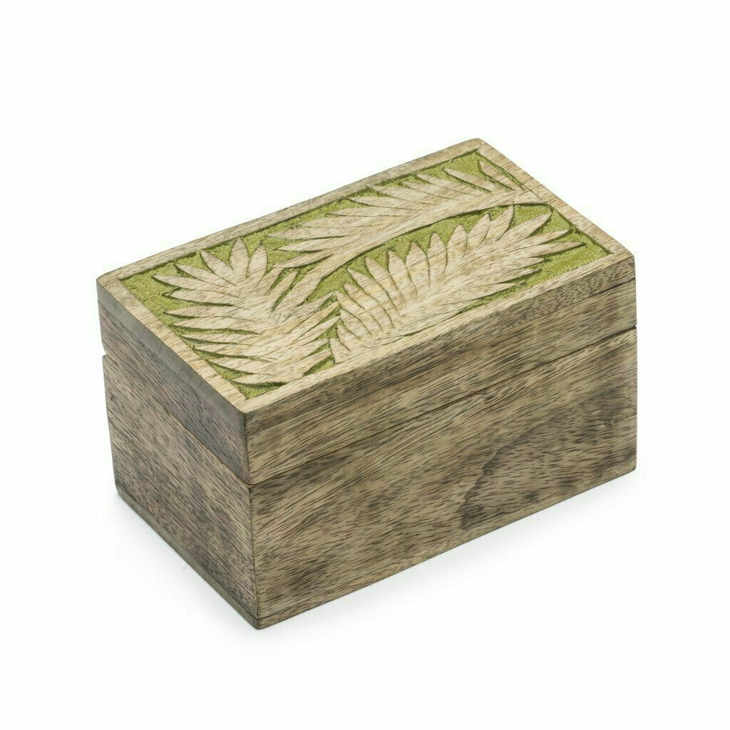 Holi Color Rub Wood Keepsake Box - Palm Leaf - Matr Boomie (B)