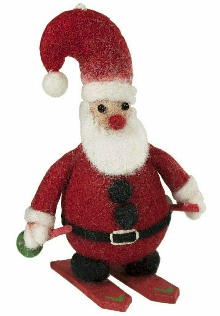 Skiing Santa Felt Ornament - Wild Woolies (H)