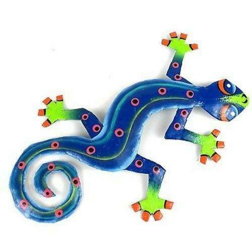 Eight Inch Blue Green Metal Gecko - Caribbean Craft