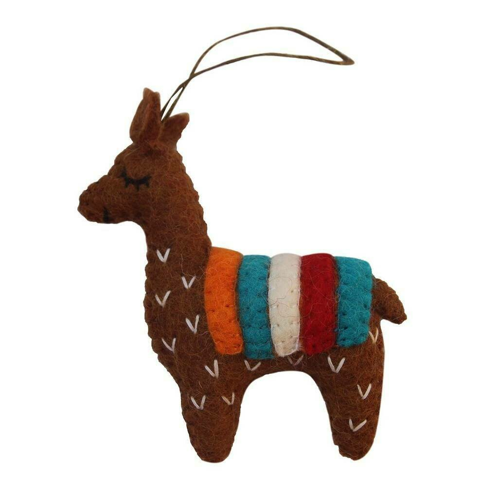 Brown Felt Llama Ornament - Global Groove (H)