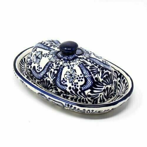Handmade Pottery Butter Dish, Blue Flower - Encantada