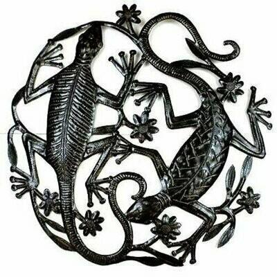24 inch Metal Art Two Geckos - Croix des Bouquets