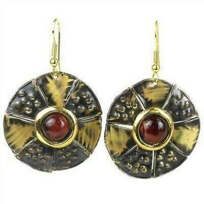 Roulette Red Tiger Eye Brass Earrings - Brass Images (E)