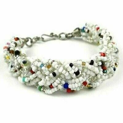 White Six Strand Braid Beaded Bracelet - Zakali Creations