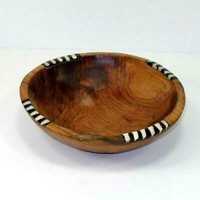 7-Inch Olive Wood Bowl with Inlaid Bone - Jedando Handicrafts