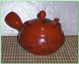 F5675 Red Caligraphy Tea Pot (Ita-Ami Filter)