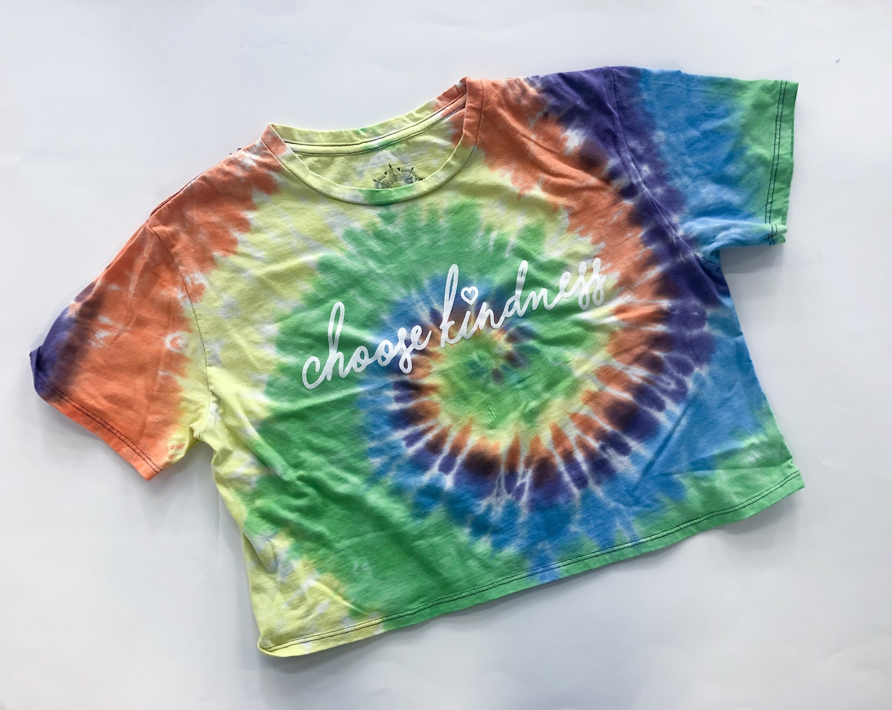 Tie Dye Crop Primary - Choose Kindness 00029