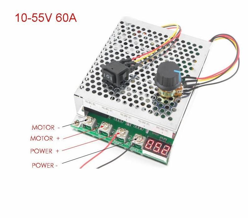 Controller motor DC 10-55V 60A 3000W cu display