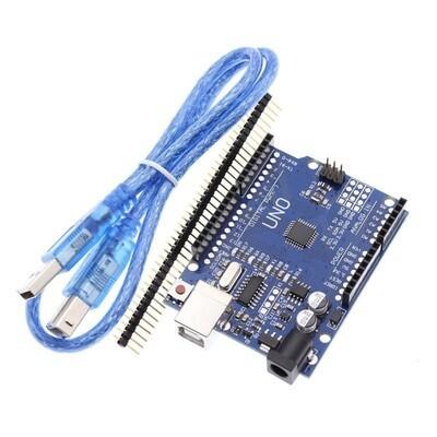Placa dezvoltare UNO R3 Arduino compatibil, ATmega328p, CH340G, cu cablu USB si bara pini